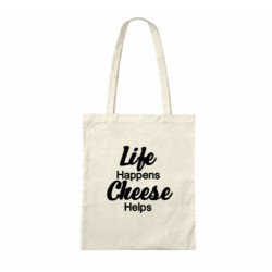 Life Happens Cheese Helps - Cheese Themed Cotton Tote Bag